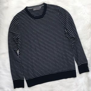 Vince Men's Blue Striped Wool Cashmere Sweater